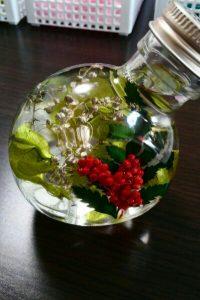 ハーバリウムクリスマス風